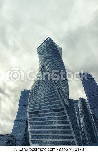 gebäude, stadt, wolkenkratzer, buero, türme, moskauer , modernes geschäft, architektur, international, zentrieren - csp57430170