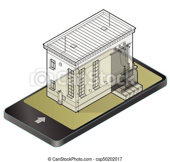 Gebäude, transformator, elektrische strom, technology.,... Vektor ...
