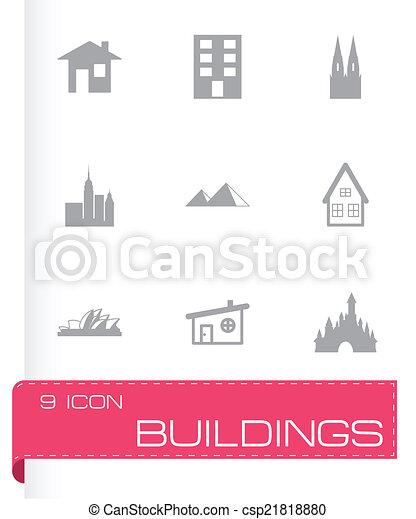 Schwarze Gebäude-Ikonen eingestellt - csp21818880