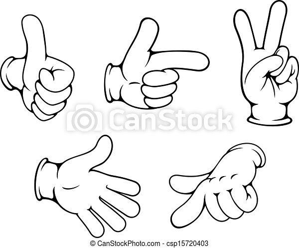 gebaren, positief, set, handen - csp15720403