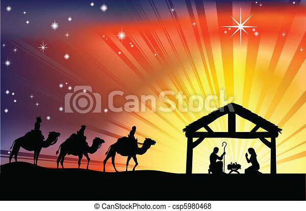 geboorte, christen, de scène van kerstmis - csp5980468