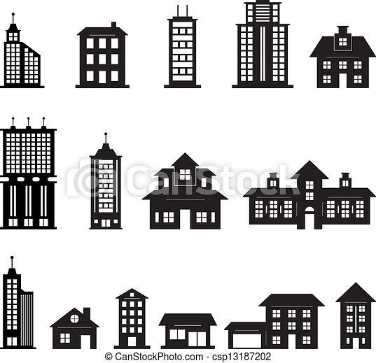 gebouw, 3, set, black , witte  - csp13187202