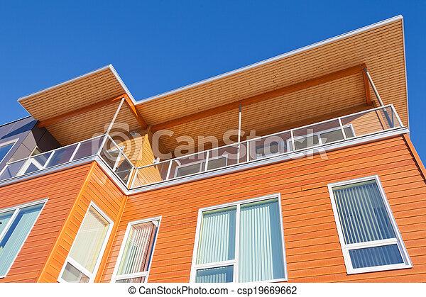 gebouw, gekleed, detail, helder, buitenkant, rijhuis, hout - csp19669662