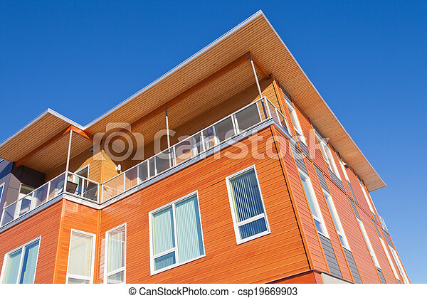 gebouw, gekleed, moderne, detail, buitenkant, rijhuis, hout - csp19669903