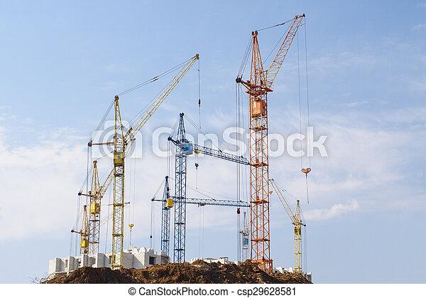 gebouw, groot, kranen - csp29628581
