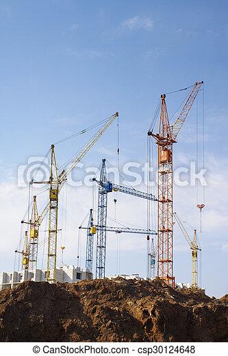 gebouw, groot, kranen - csp30124648
