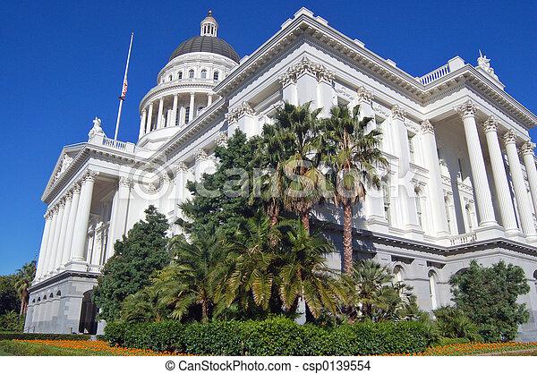 gebouw, hoek, californië, capitool, aanzicht - csp0139554