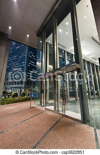 gebouw, ingang, moderne, hong kong, nacht - csp3622851