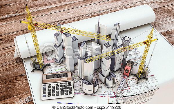 gebouw kraan, bouwsector, onder - csp25119228