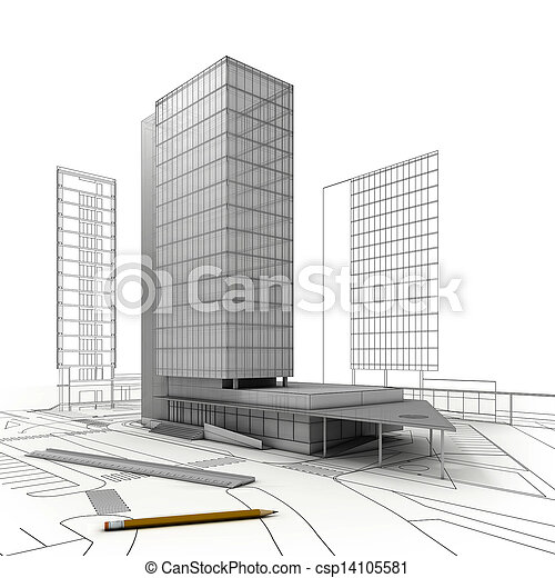 gebouw, plan, toren - csp14105581