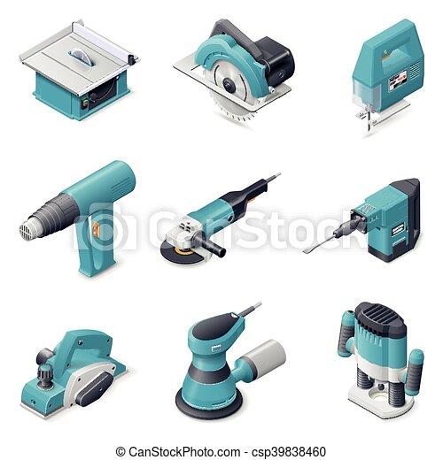 gebouw stel, gereedschap, elektrisch, pictogram - csp39838460
