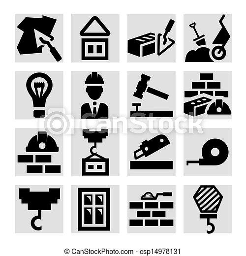 gebouw stel, iconen - csp14978131