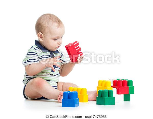 gebouw stel, spelend, kind - csp17473955