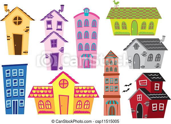 gebouw, woning, set, spotprent - csp11515005