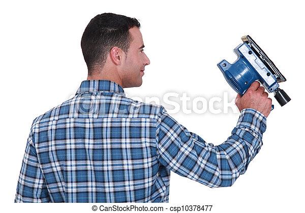 gebruik, man, sander, powered - csp10378477