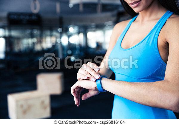 gebruik, vrouw, tracker, activiteit - csp26816164