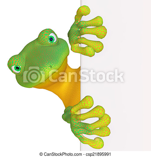Gecko with a blank sign - csp21895991