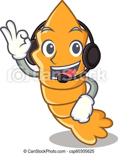 gedämpft, kopfhörer, roh, frisch, garnele, karikatur, maskottchen - csp60305625