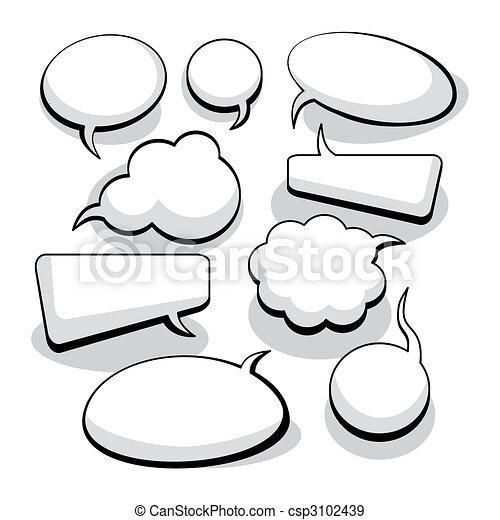 gedachte, toespraak, bellen, (vector) - csp3102439