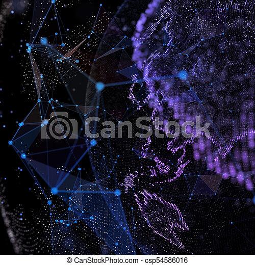 gedetailleerd, illustration., earth., globe, digitale , feitelijk, planeet, technologisch, world., 3d - csp54586016