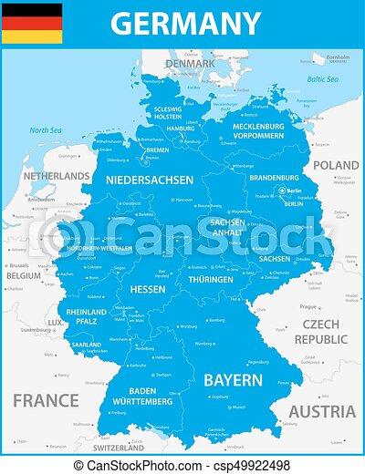 Gedetailleerd Kaart Capitals Staten Gebieden Duitsland
