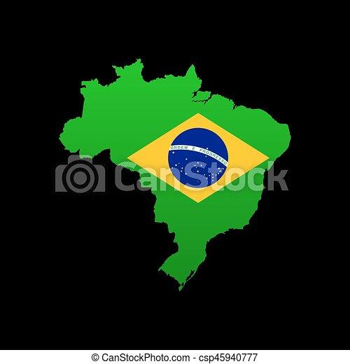 gedetailleerd, kaart, vlag, brazilie.