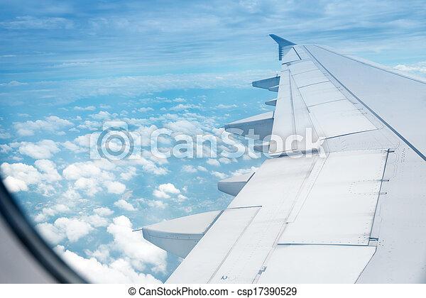 gedurende, hoogte, vlucht, vliegtuig, vleugel - csp17390529