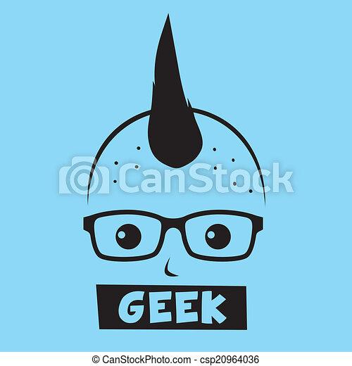 geek , χαρακτήρας , γελοιογραφία  - csp20964036