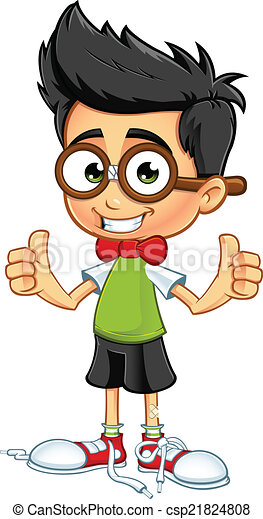 geek boy two thumbs up a cartoon illustration of a geeky rh canstockphoto com This Guy Two Thumbs Up Clip Art 2 thumbs up clipart