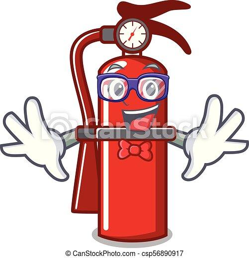 Geek fire extinguisher character cartoon - csp56890917