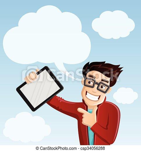 geek, informatique, -, nuage, calculer - csp34056288