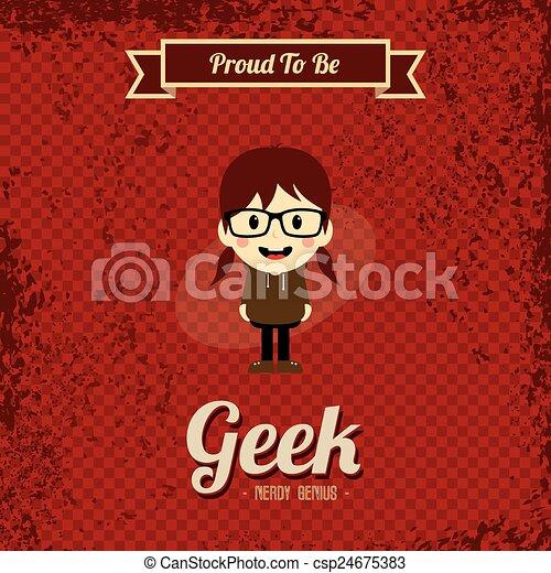 geek, kunst, retro, spotprent - csp24675383
