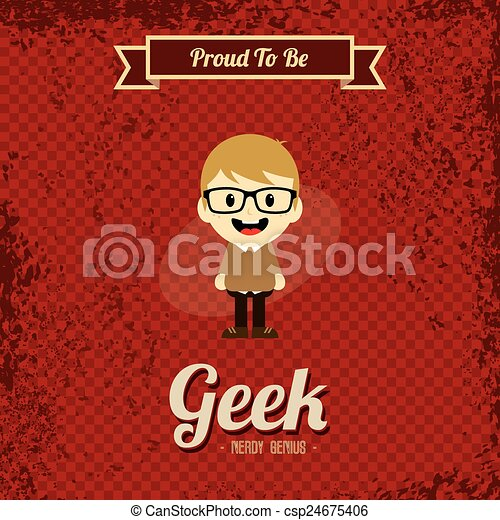 geek, kunst, retro, spotprent - csp24675406