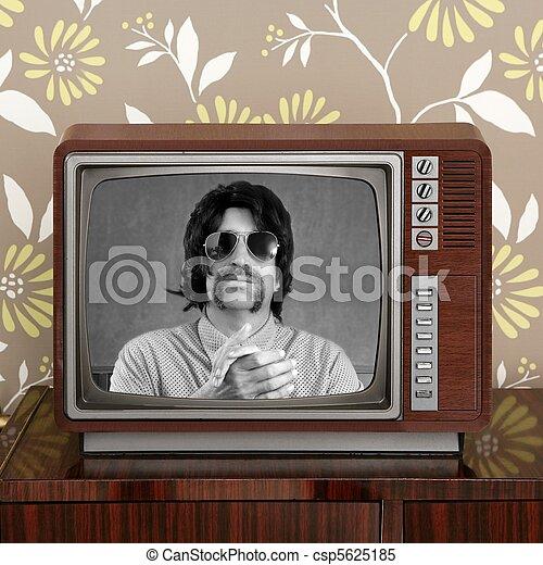 geek mustache tv presenter in retro wood television - csp5625185