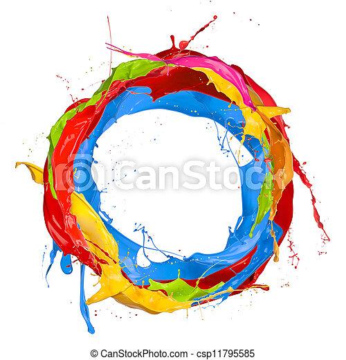gefärbt, farben, freigestellt, spritzer, hintergrund, weißer kreis - csp11795585