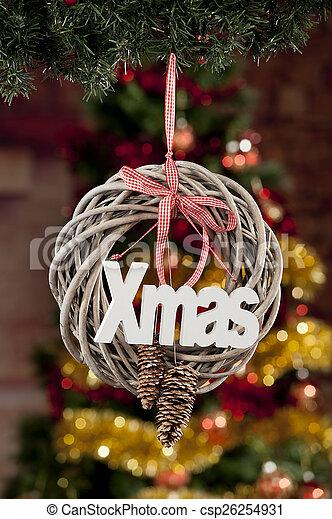gefärbt, fokus, dekoration, hintergrund, weihnachten, heraus - csp26254931