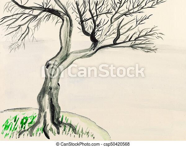 Gefarbt Gemalt Baum Hand Papier Riverbank Training Gefarbt