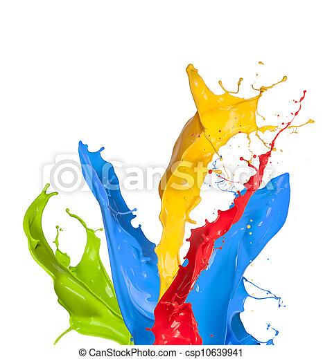 Farbige Farbe spritzt isoliert auf weißem Hintergrund - csp10639941