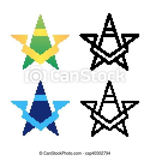 Gefärbt, stern, schablone, steigung, set., logotype, variants ...