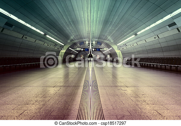 Gefärbt, symmetrisch, station, u-bahn, beleuchtung, halle.