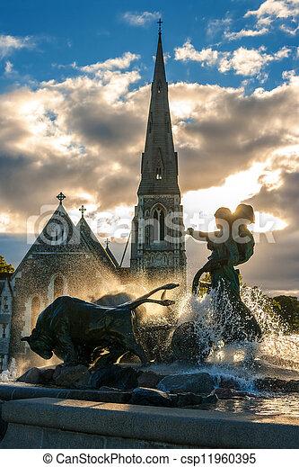 Gefion fountain. Copenhagen, Denmark - csp11960395