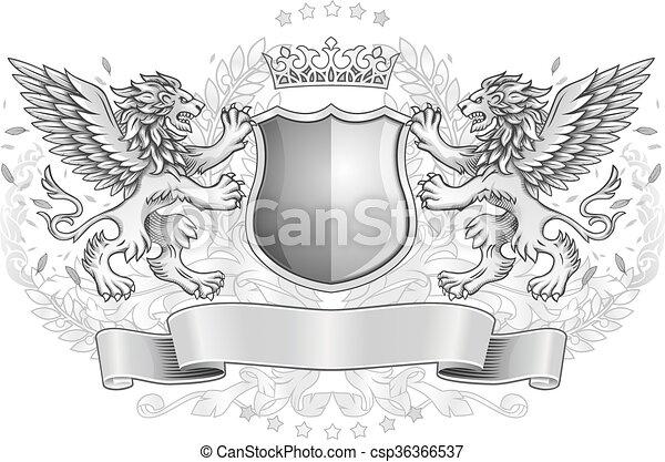 geflügelt, loewen, emblem, schutzschirm, besitz - csp36366537