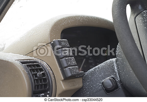 Gefrorenes, auto- innere. Kugel, macht, auto, fokus, eis ...