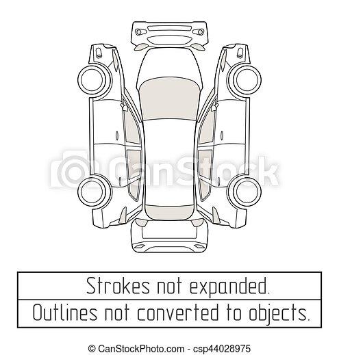 Gegenstände, auto, zeichnung, suv, verwandelt, not, skizzen ...