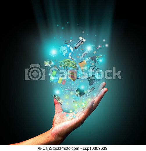 Hand halten Objekt - csp10389639