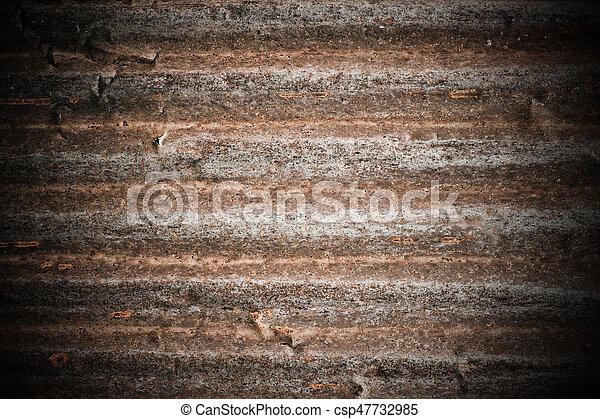 gegolfd, stijl, grunge, zink, muur, metaal, roestige , achtergrond - csp47732985