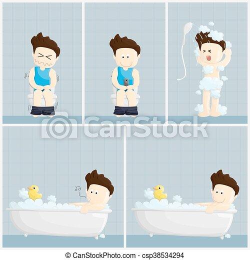 Gehalt Toilette Lebensstil Abbildung Bad Duschen Zeit