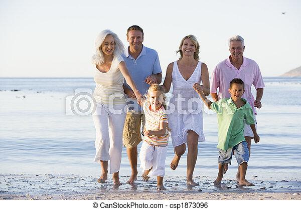 gehen, ausgedehnt, sandstrand, familie - csp1873096