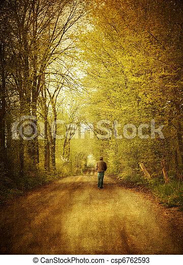 gehen, einsam, straße, mann, land - csp6762593