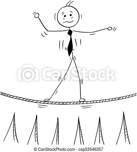 Ein Geschäftsmann, der auf Seilen läuft - csp53546357